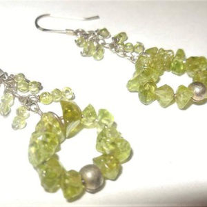 Earrings 925 Sterling Silver Beaded Green Hoops
